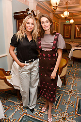 Left to right, Cassie Snelgar and Lady Violet Manners at an afternoon tea in honour of Megan Hess hosted by Lady Violet Manners at The Lanesborough, Hyde Park Corner, London, England. 10 November 2017.