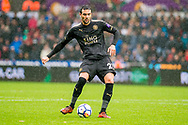 Vicente Iborra of Leicester City in action. Premier league match, Swansea city v Leicester city at the Liberty Stadium in Swansea, South Wales on Saturday 21st October 2017.<br /> pic by Aled Llywelyn, Andrew Orchard sports photography.