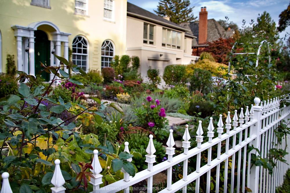 A white wrought iron picket fence encloses an entry garden.