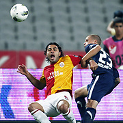 Galatasaray's Selcuk INAN (L) during their Turkish soccer superleague match Istanbul BBSpor between Galatasaray at the Ataturk Olympic stadium in Istanbul Turkey on Sunday 11 September 2011. Photo by TURKPIX