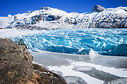 Svínafellsjökull, Iceland, 2 apr 2019,  Svínafellsjökull in an outlet glacier of Vatnajökull, the largest ice cap in Europe. It is one of the country's most popular places for glacier hiking due to its incredible formations and excellent views.
