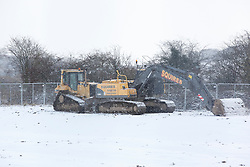 ©London News Pictures. 01/12/2010. Heavy plant machinery lies dormant today in Nottinghamshire as the majority of people take the day of work.  Photo credit should read Alison Baskerville/London News Pictures