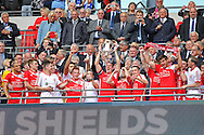 North Shields lifting the trophy during the FA Vase Final between Glossop North End and North Shields at Wembley Stadium, London, England on 9 May 2015. Photo by Phil Duncan.