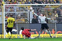 14.05.2011, Signal Iduna Park, Dortmund, GER, 1.FBL, Borussia Dortmund vs Eintracht Frankfurt, im Bild Roman Weidenfeller (Dortmund #1) pariert gegen Theofanis Gekas (Frankfurt #21) //  during the German 1.Liga Football Match,  Borussia Dortmund vs Eintracht Frankfurt, at the Signal Iduna Park, Dortmund, 14/05/2011 . EXPA Pictures © 2011, PhotoCredit: EXPA/ nph/  Conny Kurth       ****** out of GER / SWE / CRO  / BEL ******