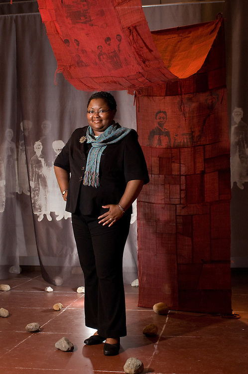 Wyona Lynch McWhite, Executive Director of the Fuller Crafts Museum, photographed amid an exhibition.
