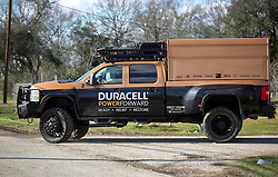 24 February 2016. Sugar Hill RV Park, Convent, Louisiana.<br /> Scenes of devastation following a deadly EF2 tornado touchdown. 2 confirmed dead. <br /> Representatives from Duracell arrive to provide free batteries to law enforcement and locals impacted by the storm.<br /> Photo©; Charlie Varley/varleypix.com