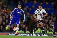 Cesc Fabregas of Chelsea goes past Erik Lamela of Tottenham Hotspur .  Barclays Premier league match, Chelsea v Tottenham Hotspur at Stamford Bridge in London on Monday 2nd May 2016.<br /> pic by Andrew Orchard, Andrew Orchard sports photography.