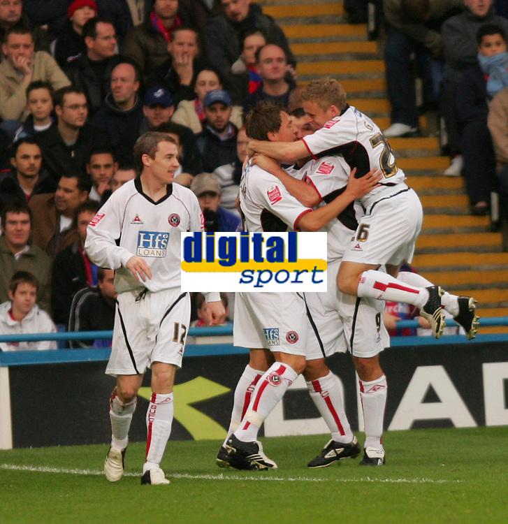 Photo: Frances Leader.<br />Crystal Palace v Sheffield Utd. Coca Cola Championship.<br />05/11/2005.<br />Sheffield United's Neil Shipperley (2nd, L) celebrates his goal