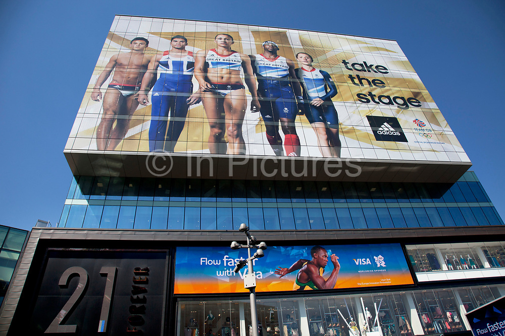 Area around Stratford in East London, home to the 2012 Olympic Games. Large scale sponsorship advertisement showing the stars of Team BG, for majoy corporate sponsor, Adidas