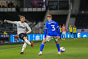 Mike the Wierik of Derby County (6)  crosses the ball during the EFL Sky Bet Championship match between Derby County and Cardiff City at the Pride Park, Derby, England on 28 October 2020.