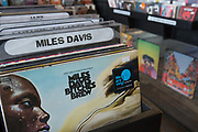 Miles Davis records on sale at Casbar Records in Greenwich on the 4th May 2018 in South London in the United Kingdom.
