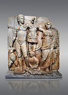 Roman Sebasteion relief sculpture of emperor Augustus and Goddess Victory, Aphrodisias Museum, Aphrodisias, Turkey. <br /> <br /> The naked emperor Augustus stands in majesty with the winged goddess Victory(Nike). He carried a spear and has an eagle, the bird representing Zeus, at his feet. Victory is crowning a military trophy - a rough post with enemy armour attached to it. Beneath the trophy is a barbarian captive, his hands tied behind his back. .<br /> <br /> If you prefer to buy from our ALAMY STOCK LIBRARY page at https://www.alamy.com/portfolio/paul-williams-funkystock/greco-roman-sculptures.html . Type -    Aphrodisias     - into LOWER SEARCH WITHIN GALLERY box - Refine search by adding a subject, place, background colour, museum etc.<br /> <br /> Visit our ROMAN WORLD PHOTO COLLECTIONS for more photos to download or buy as wall art prints https://funkystock.photoshelter.com/gallery-collection/The-Romans-Art-Artefacts-Antiquities-Historic-Sites-Pictures-Images/C0000r2uLJJo9_s0
