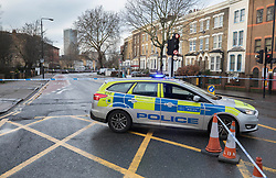 © Licensed to London News Pictures. 22/01/2018. London, UK. The scene in Romford Road after a shooting incident. Roads are closed after a man was shot in the head last night. Photo credit: Peter Macdiarmid/LNP