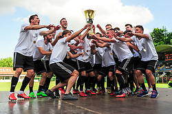 Players of Mura celebrating with trophy of Slovenian 2nd divison after football match between ND Mura and ND Drava Ptuj in Round #29 of 2.SNL 2017/18 on May 19, 2018 in Mestni stadion Fazanerija , Murska Sobota , Slovenia. Photo by Mario Horvat / Sportida