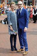 Koningsdag 2014 in Amstelveen, het vieren van de verjaardag van de koning. / Kingsday 2014 in Amstelveen, celebrating the birthday of the King. <br /> <br /> <br /> Op de foto / On the photo:  Prins Bernhard jr. en prinses Annette / Prince Bernhard and Princess Annette