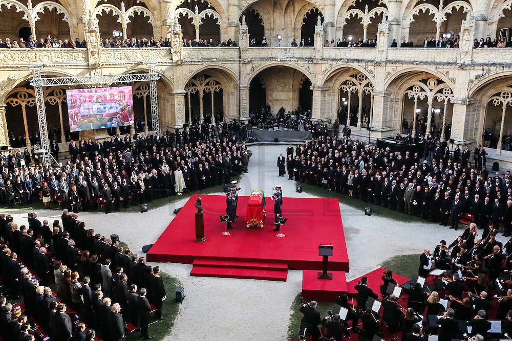 January 6, 2017. Lisbon - Portugal.<br /> Funeral ceremony  of Mario Soares (Ex-president of the republic of Portugal) in Mosteiro dos Jeronimos.
