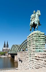 Statue of Kaiser Wilhelm I at Hohenzollern Bridge in Cologne Germany