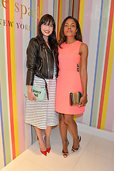 Left to right, DAISY LOWE and NAOMIE HARRIS at the opening party of the new Kate Spade New York store at 182 Regent Street, London on 21st April 2016.