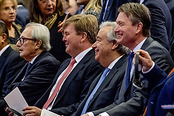 """United Nations Secretary-General Antonio Guterres and Dutch King Willem-Alexander attend the International Criminal Tribunal for the Former Yugoslavia (ICTY) closing ceremony after 24 years in the """"Ridderzaal"""", or Hall of Knights, in The Hague, Netherlands on Thursday December 21, 2017. Photo by Robin Utrecht/ABACAPRESS.COM"""