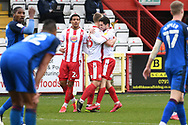 GOAL Stevenage forward Luke Norris (36) scores a goal 2-1 and celebrates  during the EFL Sky Bet League 2 match between Stevenage and Carlisle United at the Lamex Stadium, Stevenage, England on 20 March 2021.