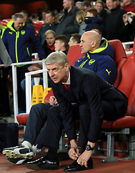 7 March 2017 - UEFA Champions League - (Round of 16) - Arsenal v Bayern Munich - Arsene Wenger manager of Arsenal and assistant Steve Bould - Photo: Marc Atkins / Offside.