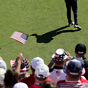 Ryder Cup 2016. Day One. Matt Kuchar of the United States practices his swing before teeing off at the first hole in the Friday afternoon four-ball competition during the Ryder Cup at Hazeltine National Golf Club on September 30, 2016 in Chaska, Minnesota.  (Photo by Tim Clayton/Corbis via Getty Images)