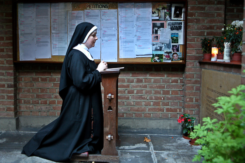 Sisters in the gardens of Tyburn Convent on Bayswater Rd, London.