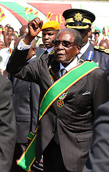 President Robert Mugabe arrives to officiate at the Heroes Day commemorations at National Heroes Acre in Harare,Zimbabwe,August 14,2017.(Xinhua/Stringer) (Photo by Xinhua/Sipa USA)