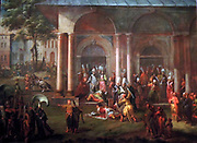 The Murder of Patrona Halil and his Fellow Rebels by Jean Baptiste Vanmour (1671-1737) oil on canvas, c. 1730-1737.  After Mahmud I ascended the throne, the rebels continued to sow unrest.  They tried to gain positions in the government and demanded ever more power.  With a sham excuse, Mahmud I summoned them to the palace, where they were killed one by one.  Patrona Halil is being overpowered on the right.