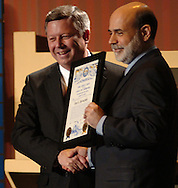 2/6/07 Omaha NE Nebraska Governor Dave Heinemen awards  Federal Reserve Chairman Ben Bernanke the honorary title of Admiral in the Nebraska Navy  at the  Greater Omaha Chamber of Commerce's annual meeting at the Qwest Center Omaha Tuesday afternoon. (photo by Chris Machian/ Prairie Pixel Group)