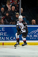 KELOWNA, CANADA - MARCH 16: Tanner Brown #29 of the Vancouver Giants skates with the puck against the Vancouver Giants on March 16, 2019 at Prospera Place in Kelowna, British Columbia, Canada.  (Photo by Marissa Baecker/Shoot the Breeze)
