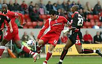 Photo: Kevin Poolman.<br />Swindon Town v Lincoln City. Coca Cola League 2. 28/10/2006. Swindon captain Lee Peacock gets a long range shot in on goal.