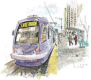 South Lake Union Streetcar in Seattle stops for passengers.<br /> <br /> Gabriel Campanario / The Seattle Times