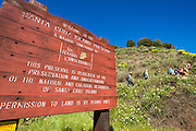 Nature Conservancy interpretive sign at Prisoners Harbor, Santa Cruz Island, Channel Islands National Park, California USA