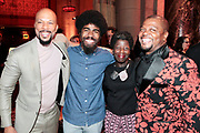 New York, New York- June 6: (L-R) Recording Artist/Actor Common, Photographer Devin Allen, Thelma Golden, Chief Curator, Studio Museum In Harlem and Visual Artist Kehinde Wiley attend the 2017 Gordon Parks Foundation Awards Dinner celebrating the Arts & Humanitarianism held at Cipriani 42nd Street on June 6, 2017 in New York City.   (Photo by Terrence Jennings/terrencejennings.com)