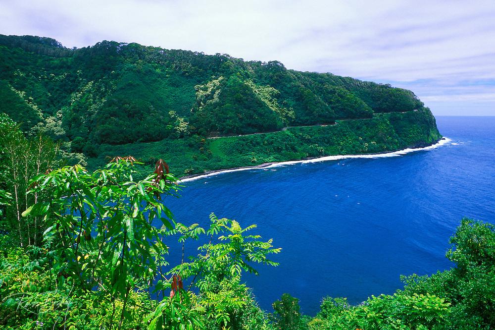 The Hana Highway and coastline above Honomanu Bay, Island of Maui, Hawaii