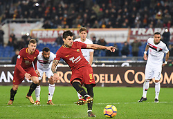 December 16, 2017 - Rome, Italy - Diego Perotti missed a penalty during the Italian Serie A football match between A.S. Roma and Cagliari at the Olympic Stadium in Rome, on december 16, 2017. (Credit Image: © Silvia Lore/NurPhoto via ZUMA Press)