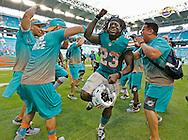 Miami Dolphins running back Jay Ajayi (23) celebrates as the Miami Dolphins host the Buffalo Bills at Hard Rock Stadium on Sunday, October 23, 2016.
