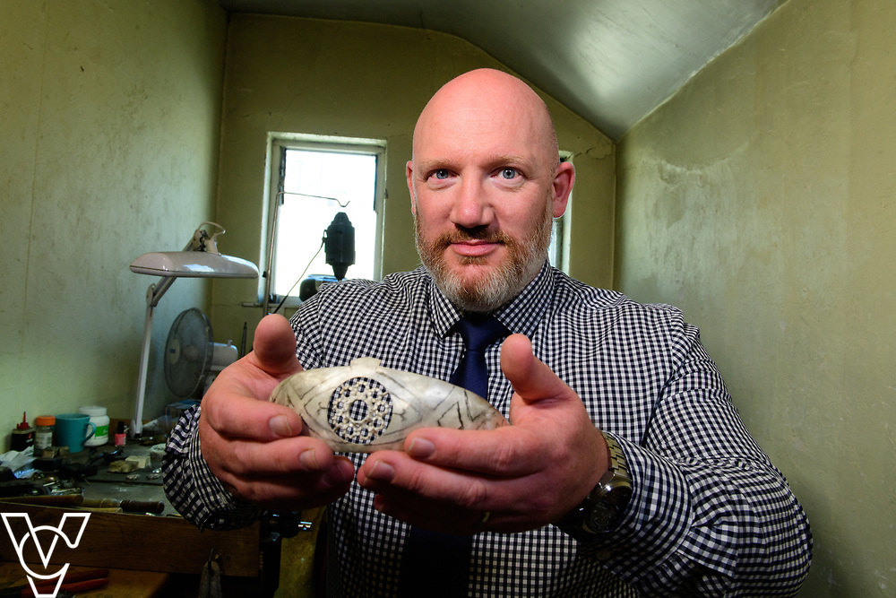 COUNTY NEWS: James Usher Jewlers, in Lincoln, are hand-making a replica of the tiara worn by Meghan Markle during her recent wedding to Prince Harry.  Pictured is James Usher manager Scott Ward with the tiara which is currently being made.<br /> <br /> Picture: Chris Vaughan Photography<br /> Date: June 28, 2018