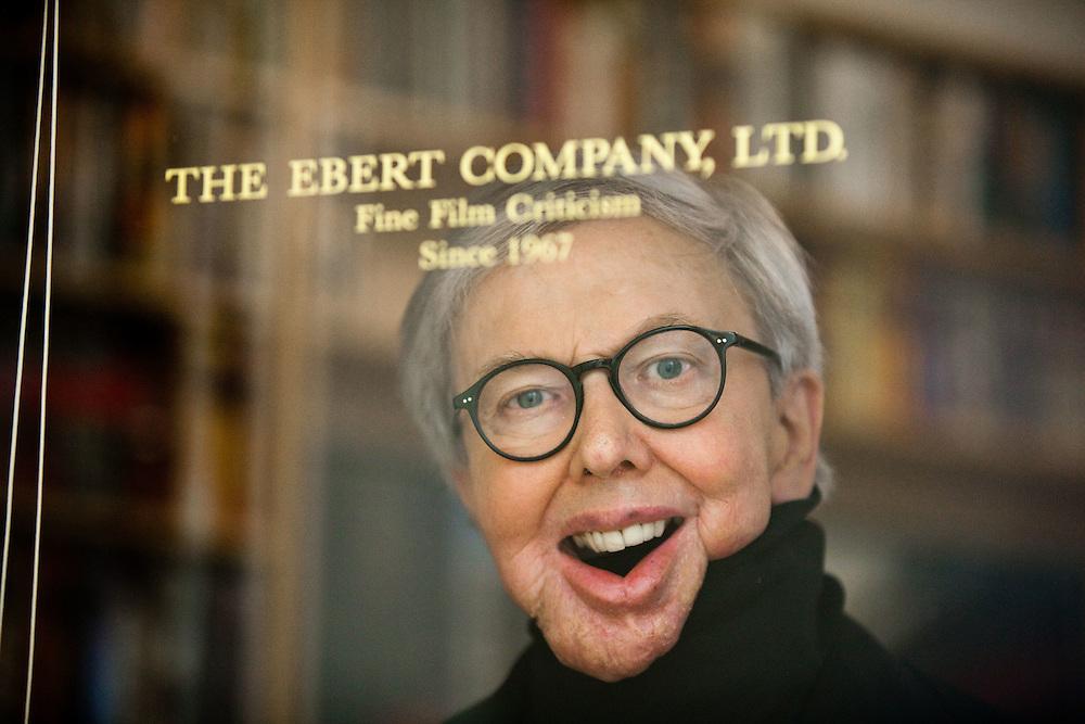 Film critic Roger Ebert behind the door of his home office in Chicago...