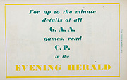 All Ireland Senior Hurling Championship Final,.Programme,.05.09.1954, 09.05.1954, 5th September 1954,.Cork 1-9, Wexford 1-6,.Minor Dublin v Tipperary, .Senior Cork v Wexford,.Croke Park,..Advertisements, Evening Herald,
