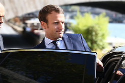 French Minister of the Economy, Industry and the Digital Sector Emmanuel Macron is seen aboard his ministry's official shuttle boat on his way to the Elysee Palace to offer his resignation to President Francois Hollande, in Paris, France on August 30, 2016. Photo by ABACAPRESS.COM
