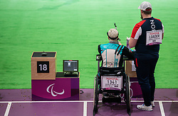 TOKYO, JAPAN - SEPTEMBER 03: HK Soerlie-Rogne of Norway competes in the R9 - Mixed 50m Rifle Prone SH2 on day 11 of the Tokyo 2020 Paralympic Games at Asaka Shooting Range on September 4, 2021 in Asaka, Japan. Photo by Vid Ponikvar / Sportida