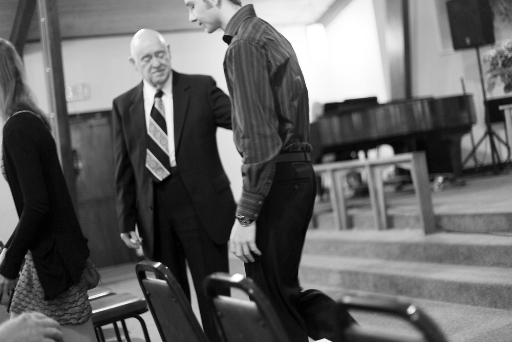 After Dot Mahoney is honored in a memorial service at Salem Evangelical Church, Ivan, her husband of 63 years adjusts to his new life without her on Thursday, Sept. 22, 2011.