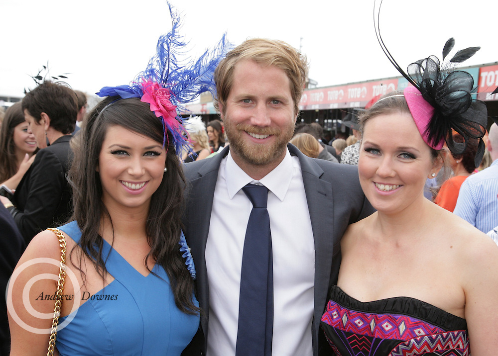 Ber Stokes and Aisling McQuade of Tullylease Co Cork with Budweiser Ice Cold Weather man Scott Campbell at the Galway Races on Thursday. Photo:- Andrews Downes