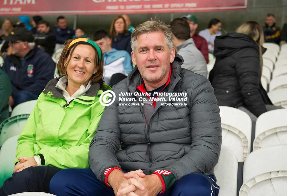 02-08-21. Meath v Dublin - Leinster MFC Final at O'Connor Park, Tullamore.<br /> Linda and Gareth McWeeney from Kilbride supporting the Meath Minor Footballers in O'Moore Park, Tullamore.<br /> Photo: John Quirke / www.quirke.ie<br /> ©John Quirke Photography, 16 Proudstown Road, Navan. Co. Meath. (info@quirke.ie / 046-9028461 / 087-2579454).
