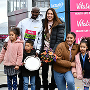 Mo Farah with wife Tania and children at The Vitality Big Half 2019 on 10 March 2019, London, UK.