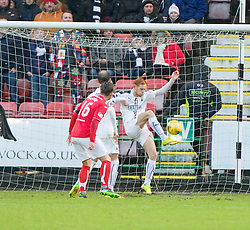 Falkirk's Scott Shehpard clears. Dunfermline 1 v 1 Falkirk, Scottish Championship game played 26/12/2016 at East End Park.