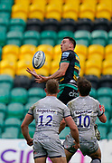Northampton Saints scrum-half Tom James catches a high ball during a Gallagher Premiership Round 13 Rugby Union match, Saturday, Mar. 13, 2021, in Northampton, United Kingdom. (Steve Flynn/Image of Sport)