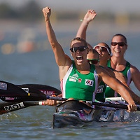 Gabriella Szabo, Danuta Kozak, Katalin Kovacs and Dalma Benedek (left to right) from Hungary celebrate their victory during the K4 women Kayak 500m final A of the 2011 ICF World Canoe Sprint Championships held in Szeged, Hungary on August 19, 2011. ATTILA VOLGYI
